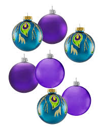 peacock unique glass ornament set treetopia