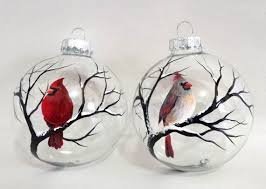 cardinal ornament set of two bird winter