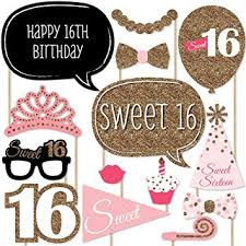 photo props sweet 16 birthday photo booth props kit 20 count