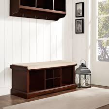 Entryway Storage Bench With Coat Rack Crosley Brennan Entryway Storage Bench Mahogany Hayneedle