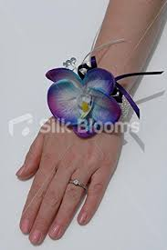 Blue Orchid Corsage Amazon Com Purple Galaxy Blue Orchid Prom Wedding Wrist Corsage W