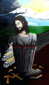 Kitchen Cabinet Trash Large Trash Can Lowes Big Jesus Trash Can Painting By Suzihead