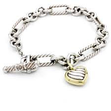 heart chain link bracelet images David yurman cable heart figaro link toggle sterling silver jpg
