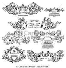 Wedding Design Vector Of Set Of Vintage Victorian Ornaments Wedding Design