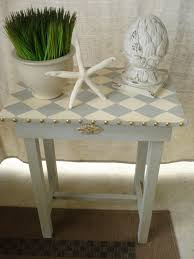 vintage hand painted harlequin accent side table rustic elegance