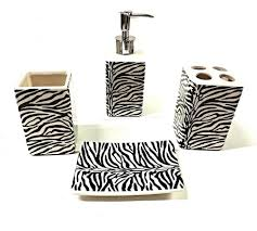 4 piece zebra bathroom ceramic accessory set animal print zebra