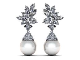 diamond and pearl earrings 14k white gold diamond white pearl cluster with cap pearl earring