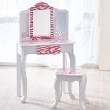 teamson kids children u0027s wooden vanity dressing table set with