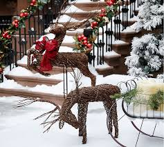outdoor decorations deer part 25 2 deer with sleigh