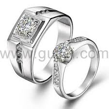 crystal diamond rings images Silver high grade crystal diamond engravable wedding rings set jpg