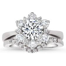 snowflake engagement ring snowflake style engagement ring plain band diamond halo matching