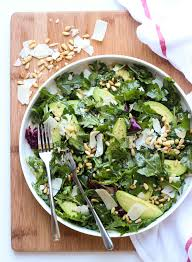 parmesan arugula kale salad with pine nuts broken