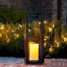 grande lanterne en métal avec bougie led blanc chaud à piles