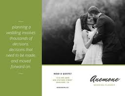 to be wedding planner green wedding planner tri fold brochure templates by canva