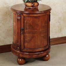 wedge shaped end table brown varnished wooden tube shaped end table with storage and short