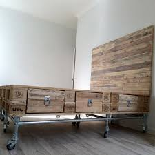 Recycled Bedroom Ideas Pallet Wood And Scaffold Bed With Headboard And Drawers Modern