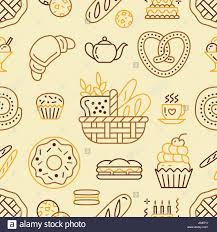 seamless pattern food bakery seamless pattern food vector background of beige color stock
