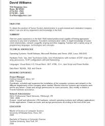 Computer Hardware And Networking Resume Samples Resume Sample System Administrator Example 18 Network Intended For