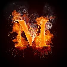 fire swirl letter m isolated on black background computer design