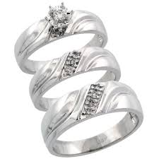 wedding trio sets 14k white gold diamond jewelry wedding engagement sets trio rings