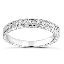 diamond wedding bands for women 14k gold diamond wedding band for women vintage filigree look 1 2ct