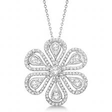 diamond flower necklace images Diamond flower pendant necklace 14k white gold 1 04ct allurez jpg