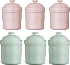 Pink Kitchen Canister Set Storage Jars Tea Coffee Sugar Canisters Pastel Stoneware Heart