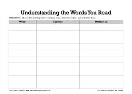 graphic organizer for vocabulary and reading comprehension