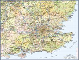 A Map Of England by South East England 1st Level County Wall Map With Roads And Rail