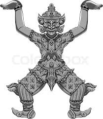 rakshasa thai statue black outlines isolated on white background
