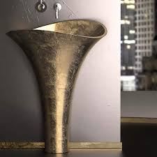 Contemporary Pedestal Sink Modern Pedestal Sink Gold Leaf