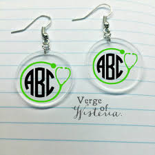 monogrammed earrings customized bow monogram earrings from verge of wisteria