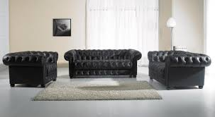 black tufted leather traditional 3pc sofa loveseat u0026 chair set