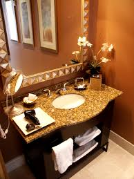 orange wall paint grnaite countertop mounted washbasin mirror with