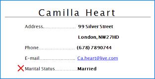 including marital status on a cv cv plaza