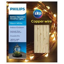 philips 30ct dewdrop battery operated string led lights