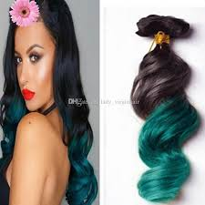 teal hair extensions colorful 1b green ombre hair extensions 3 bundles black and green