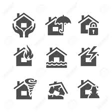 property insurance icons home protections and insurance risks