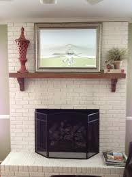 brilliant white brick wall panels painted fireplace added floating