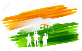 Flag Of Inida Illustration Of Soldier Standing On Tricolor Flag Of India