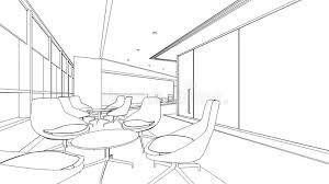 outline sketch of a interior reception area stock illustration