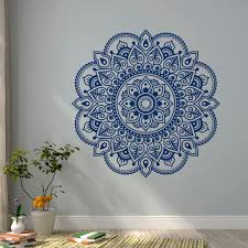 wall decal vinyl sticker mandala ornament lotus flower yoga indian
