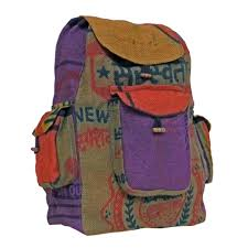 artisan handicrafts handcrafted recycled jute backpack