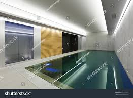 modern concrete house indoor pool sauna stock photo 101721937