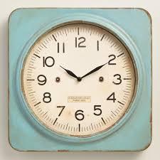 Small Bathroom Clock - aqua metal square wall clock clock world and wall clocks