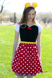 Minnie Mouse Womens Halloween Costume Teen Red Dot Minnie Mouse Costume Apron Disney Inspired