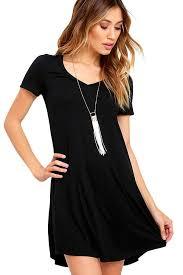 black fashion v neck pocket short sleeve t shirt dress mb22985 2