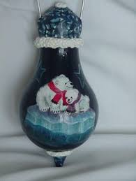 owl painted on a light bulb ornament deck the halls