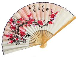 oriental fan wall hanging the setting sun meets the blossoming flowers wall hanging fan