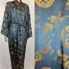 vintage 70 u0027s gold dragon embroidery kimono maxi robe wrap in red